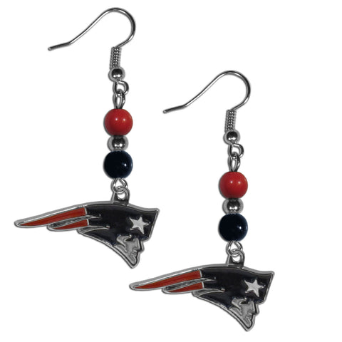 New England Patriots Fan Bead Dangle Earrings