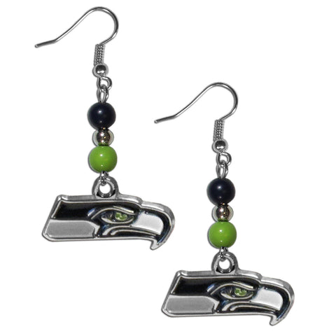 Seattle Seahawks Fan Bead Dangle Earrings