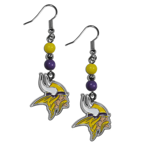Minnesota Vikings Fan Bead Dangle Earrings