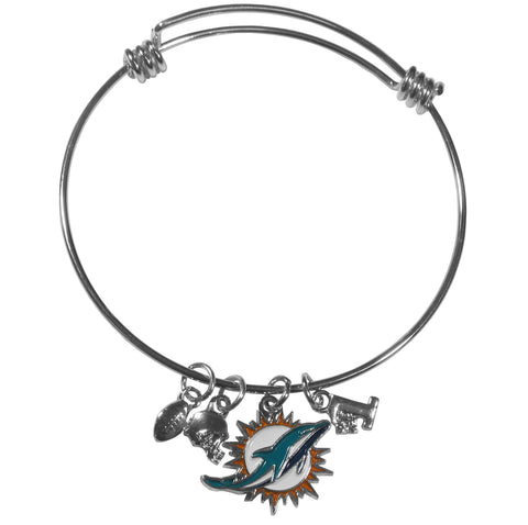 Miami Dolphins Charm Bangle Bracelet