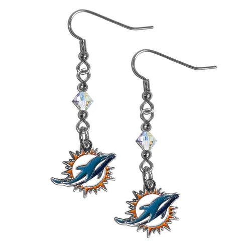 Miami Dolphins Crystal Dangle Earrings