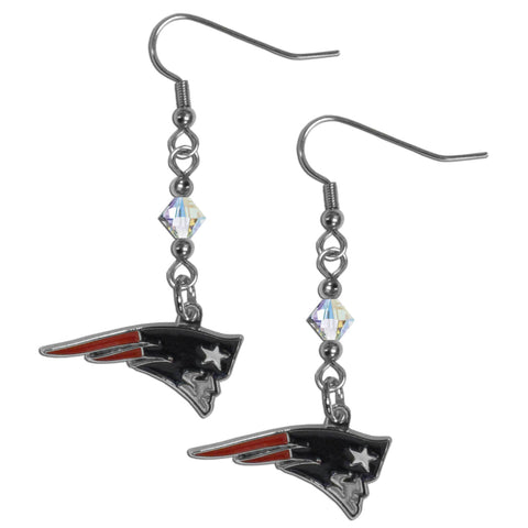 New England Patriots Crystal Dangle Earrings