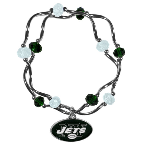 New York Jets Crystal Bead Bracelet