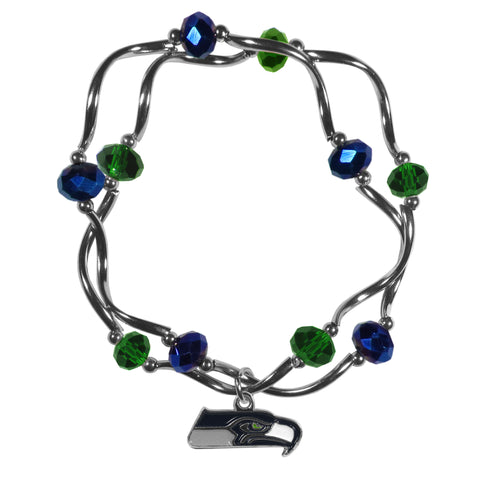 Seattle Seahawks Crystal Bead Bracelet