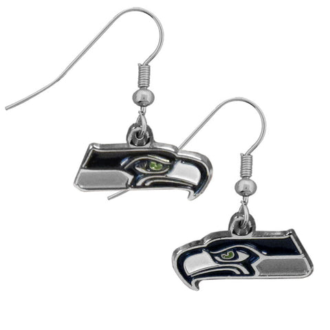 Seattle Seahawks Chrome Dangle Earrings