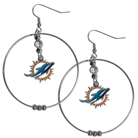 Miami Dolphins 2 Inch Hoop Earrings