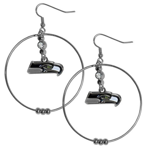 Seattle Seahawks 2 Inch Hoop Earrings