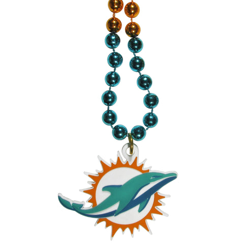 Miami Dolphins Mardi Gras Bead Necklace