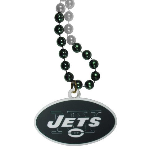 New York Jets Mardi Gras Bead Necklace