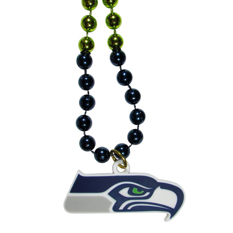 Seattle Seahawks Mardi Gras Bead Necklace
