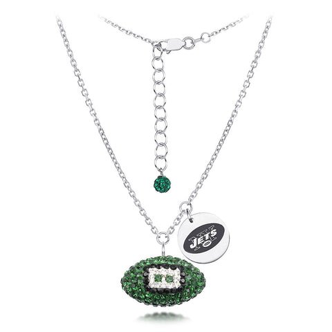 New York Jets Silver Necklace w/Crystal Football