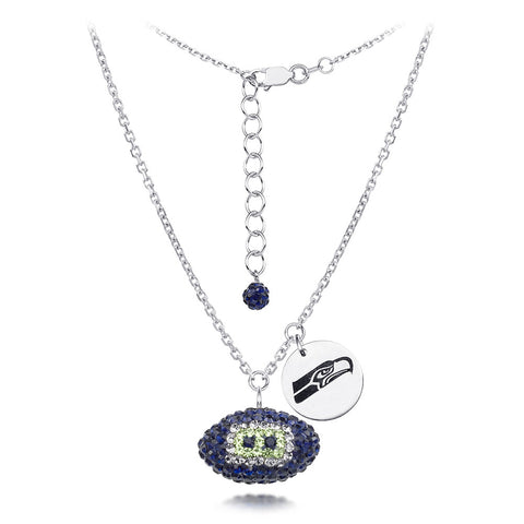 Seattle Seahawks Silver Necklace w/Crystal Football