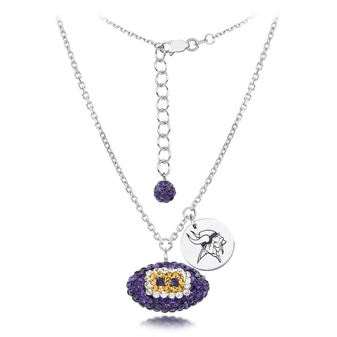Minnesota Vikings Silver Necklace w/Crystal Football