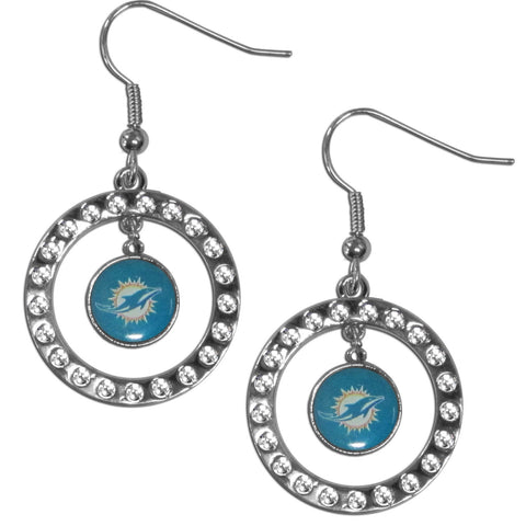 Miami Dolphins Rhinestone Hoop Earrings