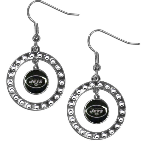 New York Jets Rhinestone Hoop Earrings