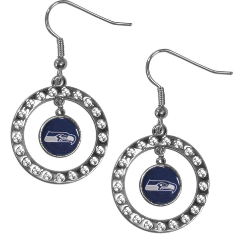 Seattle Seahawks Rhinestone Hoop Earrings