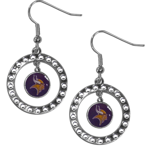 Minnesota Vikings Rhinestone Hoop Earrings