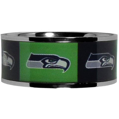 Seattle Seahawks Steel Inlaid Ring Size 12