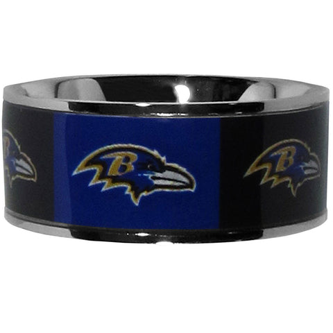 Baltimore Ravens Steel Inlaid Ring Size 10
