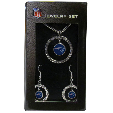 New England Patriots Rhinestone Hoop Jewelry Set