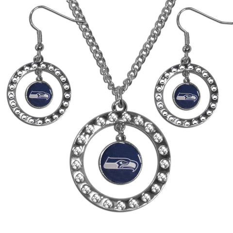 Seattle Seahawks Rhinestone Hoop Jewelry Set