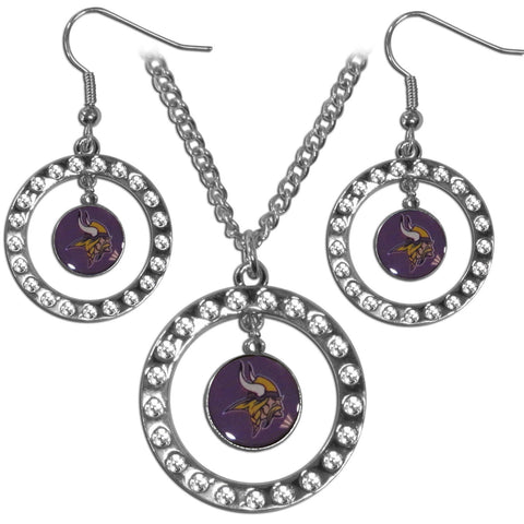 Minnesota Vikings Rhinestone Hoop Jewelry Set