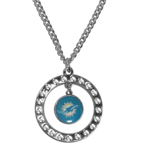 Miami Dolphins Rhinestone Hoop Necklace