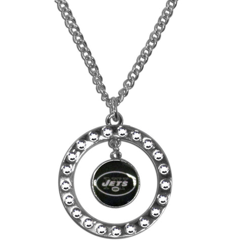 New York Jets Rhinestone Hoop Necklace