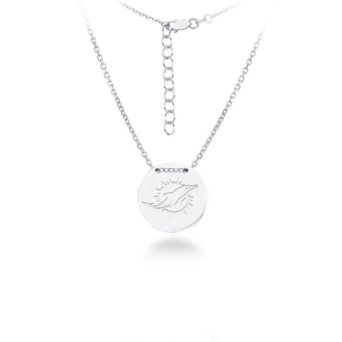 Miami Dolphins Silver Necklace with Round Pendant