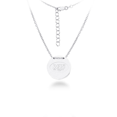 New York Jets Silver Necklace with Round Pendant