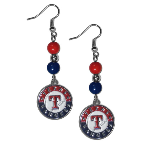 Texas Rangers Fan Bead Dangle Earrings