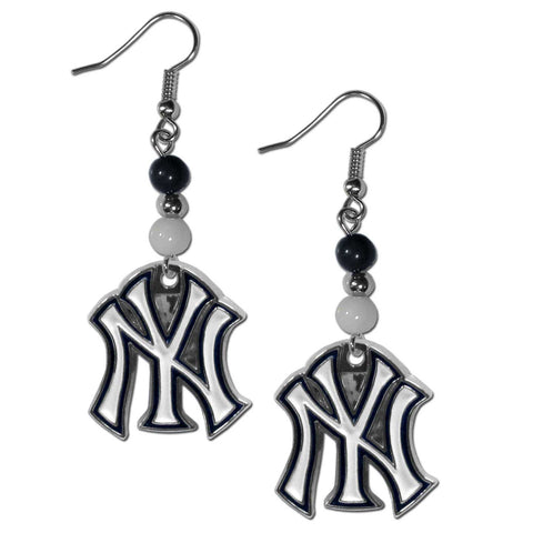 New York Yankees Fan Bead Dangle Earrings