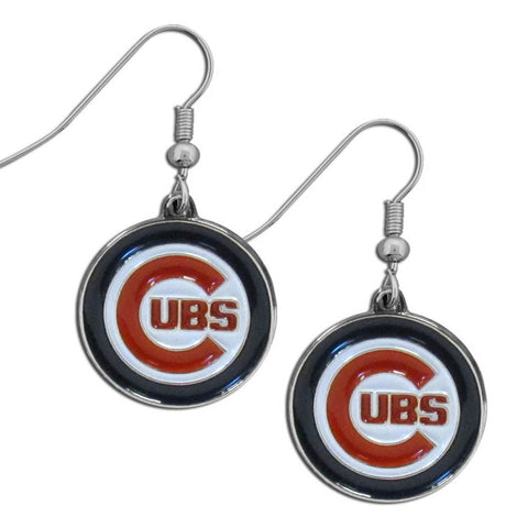 Chicago Cubs Chrome Dangle Earrings