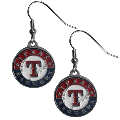 Texas Rangers Chrome Dangle Earrings