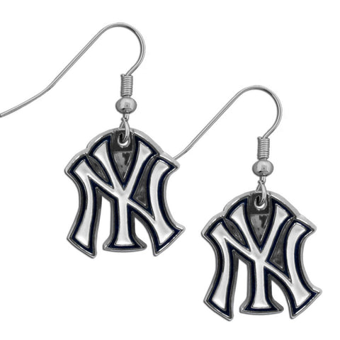 New York Yankees Chrome Dangle Earrings