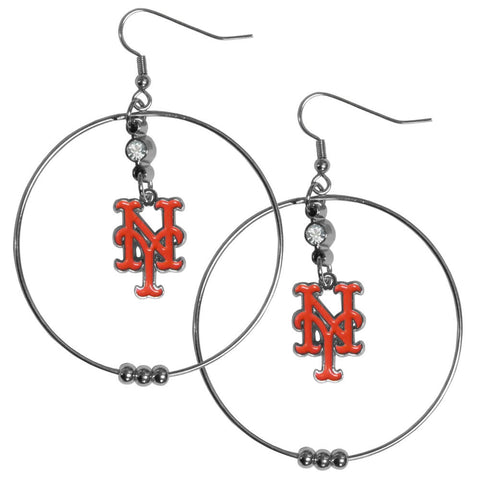 New York Mets 2 Inch Hoop Earrings