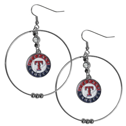 Texas Rangers 2 Inch Hoop Earrings