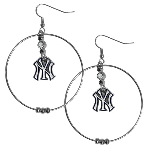 New York Yankees 2 Inch Hoop Earrings