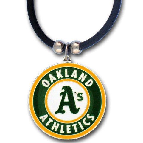 Oakland Athletics Rubber Cord Necklace