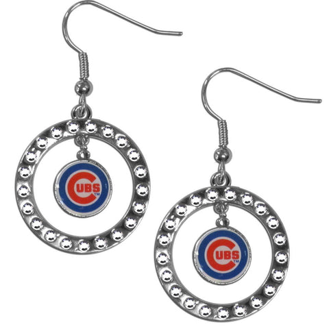 Chicago Cubs Rhinestone Hoop Earrings