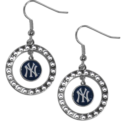 New York Yankees Rhinestone Hoop Earrings 87