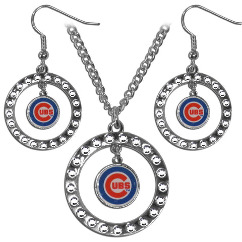 Chicago Cubs Rhinestone Hoop Jewelry Set