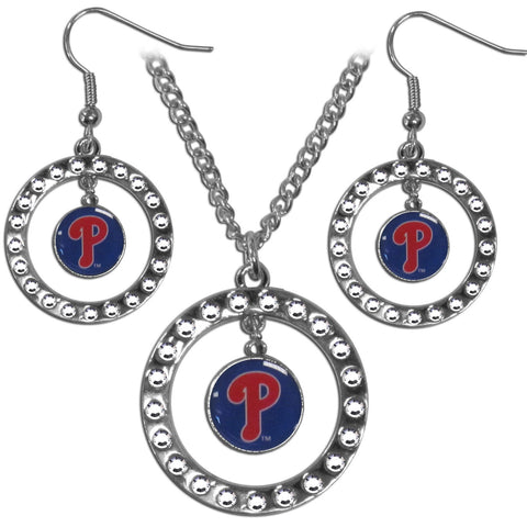 Philadelphia Phillies Rhinestone Hoop Jewelry Set