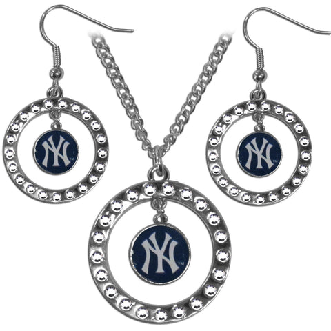 New York Yankees Rhinestone Hoop Jewelry Set