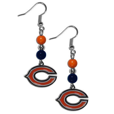 Chicago Bears Fan Bead Dangle Earrings