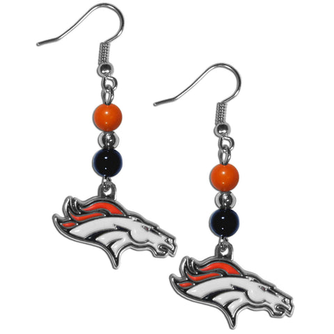 Denver Broncos Fan Bead Dangle Earrings