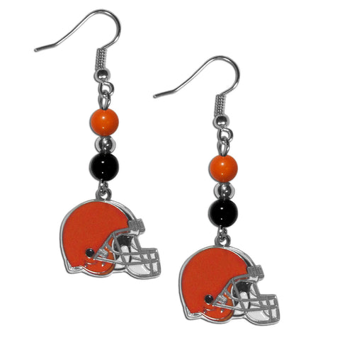 Cleveland Browns Fan Bead Dangle Earrings