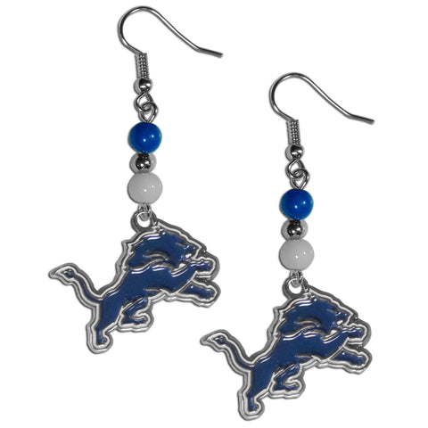 Detroit Lions Fan Bead Dangle Earrings
