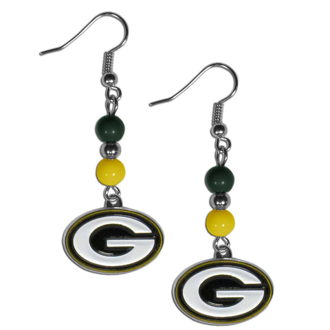 Green Bay Packers Fan Bead Dangle Earrings