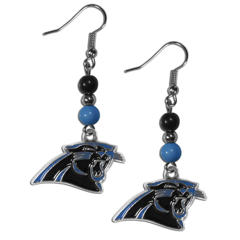 Carolina Panthers Fan Bead Dangle Earrings
